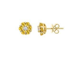 1.21 CARAT ROUND CUT YELLOW SAPPHIRE & DIAMOND STUD EARRINGS 14KT YELLOW GOLD