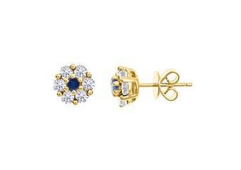 1 CARAT ROUND CUT DIAMOND & BLUE SAPPHIRE STUD EARRINGS 14KT YELLOW GOLD