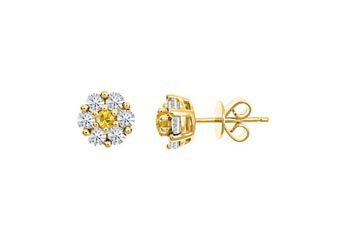 1 CARAT ROUND CUT DIAMOND & YELLOW SAPPHIRE STUD EARRINGS 14KT YELLOW GOLD