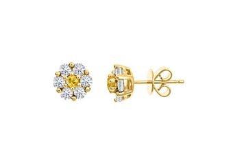 1 CARAT ROUND CUT DIAMOND & YELLOW SAPPHIRE STUD EARRINGS 14KT YELLOW GOLD