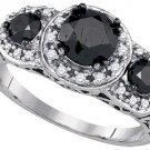 3-STONE BLACK DIAMOND ENGAGEMENT RING 2.04 CARATS BRILLIANT ROUND CUT WHITE GOLD
