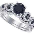 WOMENS BLACK DIAMOND ENGAGEMENT RING WEDDING BAND BRIDAL SET ROUND CUT