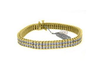 "LADIES DIAMOND BOX TENNIS BRACELET 8 CARAT ROUND CUT 14KT YELLOW GOLD 7"" INCH"