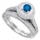 WOMENS BRILLIANT ROUND BLUE DIAMOND ENGAGEMENT HALO RING WEDDING BAND BRIDAL SET