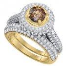 WOMENS COGNAC CHAMPAGNE DIAMOND ENGAGEMENT HALO RING WEDDING BAND BRIDAL SET
