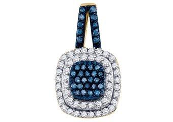 .50 Carat Blue Diamond Pendant Brilliant Round Cut Yellow Gold Cushion Shape