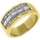 MENS 2.2 CARAT PRINCESS BAGUETTE CUT DIAMOND RING WEDDING BAND 18KT YELLOW GOLD