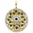 .50 Carat Blue Diamond Pendant Medallion Brilliant Round Cut Yellow Gold