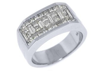 MENS 2 CARAT PRINCESS BAGUETTE CUT DIAMOND RING WEDDING BAND 18KT WHITE GOLD