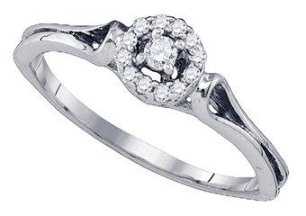 .10 CARAT BRILLIANT ROUND CUT DIAMOND ENGAGEMENT PROMISE HALO RING  WHITE GOLD