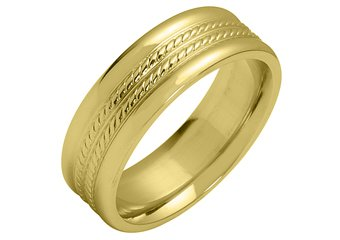MENS WEDDING BAND ENGAGEMENT RING YELLOW GOLD HIGH GLOSS BRAIDED 6mm