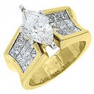4 CARAT WOMENS DIAMOND ENGAGEMENT RING MARQUISE PRINCESS INVISIBLE YELLOW GOLD