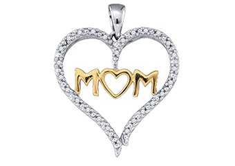 Diamond Mom Pendant Mothers Day Gift 10k White & Yellow Gold .07 Carats
