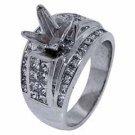 1.89 CARAT WOMENS DIAMOND ENGAGEMENT RING SEMI-MOUNT PRINCESS CUT WHITE GOLD