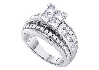 1.5 CARAT WOMENS DIAMOND ENGAGEMENT RING PRINCESS CUT SHAPE WHITE GOLD