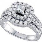 1 CARAT WOMENS DIAMOND ENGAGEMENT HALO RING PRINCESS CUT SHAPE WHITE GOLD