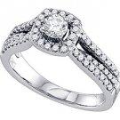 .76 CARAT WOMENS DIAMOND ENGAGEMENT HALO RING BRILLIANT ROUND SHAPE WHITE GOLD
