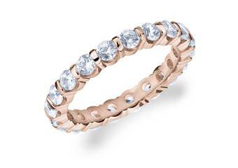 DIAMOND ETERNITY BAND WEDDING RING ROUND BAR SET 14K ROSE GOLD 1.50 CARATS