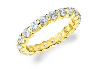 DIAMOND ETERNITY BAND WEDDING RING ROUND BAR SET 14K YELLOW GOLD 1.50 CARATS