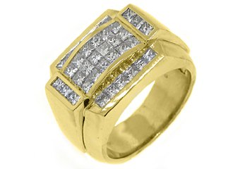 MENS 2.71 CARAT PRINCESS SQUARE CUT DIAMOND RING WEDDING BAND 14KT YELLOW GOLD