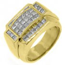 MENS 2.71 CARAT PRINCESS SQUARE CUT DIAMOND RING WEDDING BAND 14KT YELLOW GOLD