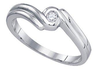 DIAMOND PROMISE ENGAGEMENT RING WHITE GOLD ROUND SHAPE .05 CARATS