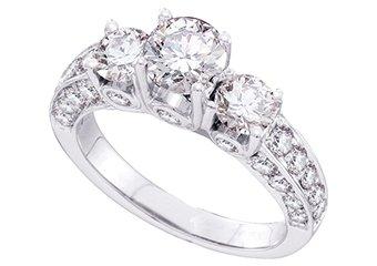 2.5 CARAT WOMENS 3-STONE PAST PRESENT FUTURE DIAMOND RING ROUND CUT WHITE GOLD