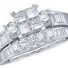 WOMENS DIAMOND ENGAGEMENT RING WEDDING BAND BRIDAL SET INVISIBLE PRINCESS CUT