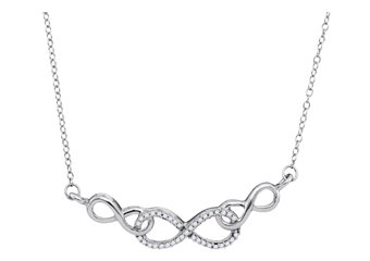 WOMENS INFINITY LOVERS KNOT DIAMOND NECKLACE PENDANT 0.15 CARAT 10KT WHITE GOLD