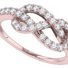 ROSE GOLD ROUND CUT DIAMOND WEDDING BAND INFINITY RING LOVERS KNOT 3/4 CARAT