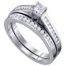 WOMENS DIAMOND ENGAGEMENT RING WEDDING BAND BRIDAL SET 1/2 CARAT PRINCESS CUT