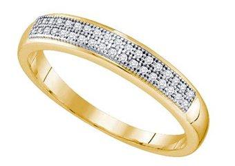 .10 CARAT WOMENS BRILLIANT ROUND CUT DIAMOND RING WEDDING BAND YELLOW GOLD