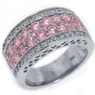 WOMENS PINK SAPPHIRE DIAMOND RING WEDDING BAND 2.76 CARAT ROUND CUT WHITE GOLD