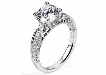 WOMENS DIAMOND ENGAGEMENT RING ROUND CUT 1.75 CARAT 18K WHITE GOLD