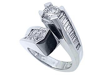3 CARAT WOMENS DIAMOND ENGAGEMENT RING ROUND PRINCESS BAGUETTE CUT WHITE GOLD