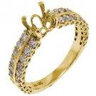 1.10 CARAT WOMENS DIAMOND ENGAGEMENT RING SEMI-MOUNT ROUND SHAPE  YELLOW GOLD