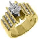 1.83 CARAT WOMENS DIAMOND ENGAGEMENT WEDDING RING MARQUISE ROUND CUT YELLOW GOLD