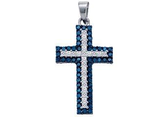 1.15 Carat Blue Diamond Cross Pendant Brilliant Round Cut White Gold
