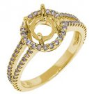 .52 CARAT WOMENS DIAMOND HALO ENGAGEMENT RING SEMI-MOUNT ROUND SHAPE YELLOW GOLD