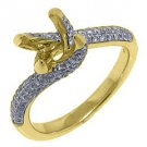 .91 CARAT WOMENS DIAMOND ENGAGEMENT RING SEMI-MOUNT ROUND CUT YELLOW GOLD