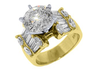 5.4 CARAT WOMENS DIAMOND ENGAGEMENT RING ROUND MARQUISE BAGUETTE CUT YELLOW GOLD