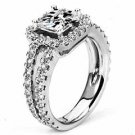 WOMENS DIAMOND ENGAGEMENT HALO RING PRINCESS CUT 2.26 CARAT 14K WHITE GOLD