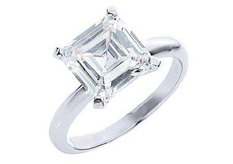 2.5 CARAT WOMENS SOLITAIRE ASSCHER CUT DIAMOND ENGAGEMENT RING WHITE GOLD