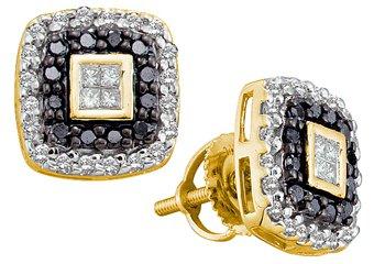 .51 CARAT PRINCESS CUT INVISIBLE BLACK DIAMOND HALO STUD EARRINGS YELLOW GOLD