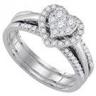 WOMENS DIAMOND ENGAGEMENT HALO RING WEDDING BAND BRIDAL TRIO SET HEART SHAPE