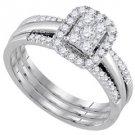 WOMENS DIAMOND ENGAGEMENT HALO RING WEDDING BAND BRIDAL TRIO SET EMERALD SHAPE