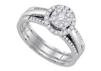 WOMENS DIAMOND ENGAGEMENT HALO RING WEDDING BAND BRIDAL TRIO SET ROUND SHAPE
