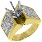 4.48 CARAT WOMENS DIAMOND ENGAGEMENT RING SEMI-MOUNT PRINCESS CUT YELLOW GOLD