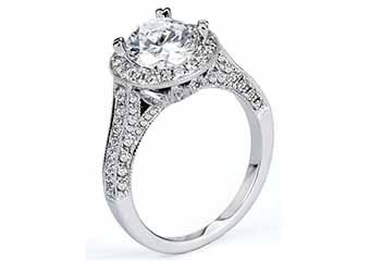 WOMENS DIAMOND ENGAGEMENT HALO RING ROUND CUT 1.91 CARAT 18K WHITE GOLD