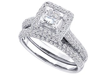WOMENS DIAMOND ENGAGEMENT HALO RING WEDDING BAND BRIDAL SET PRINCESS CUT 1.23 CT